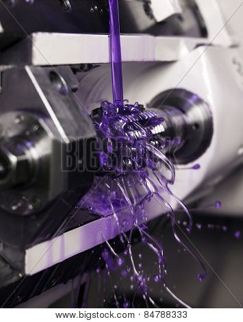 Close up of Purple Floating Fluid in a machine