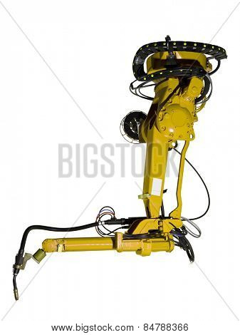 Yellow Industrial machine part on white background
