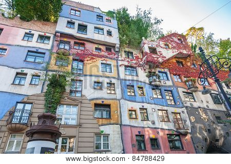 VIENNA, AUSTRIA - SEPTEMBER 30, 2008 Colorful facade of the famous Hundertwasserhaus in Vienna, Aust