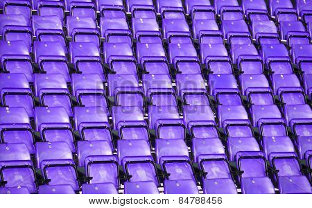 Purple Spectators seats at a stadium