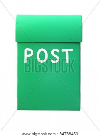 Green mailbox isolated on a white background