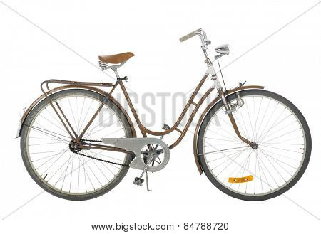 Brown Old fashioned bicycle isolated on white background