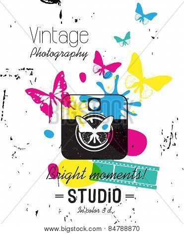 Vintage Label, photography studio Style. Typography vector Elements.