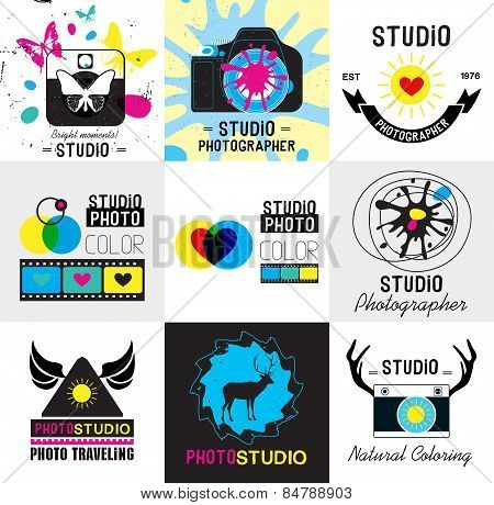 Set of vintage photo studio logo, labels and design element.
