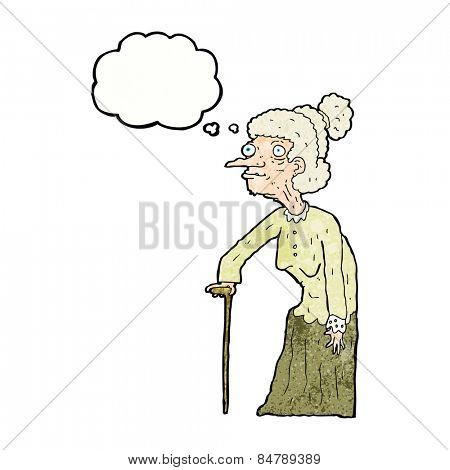 cartoon old woman with thought bubble