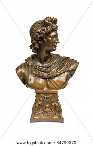 Bust sculpture of Apollo Belvedere isolated over white with clipping path.