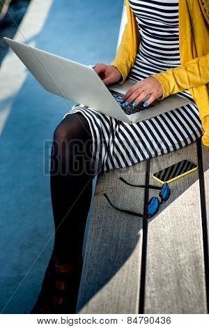 Woman writer with laptop