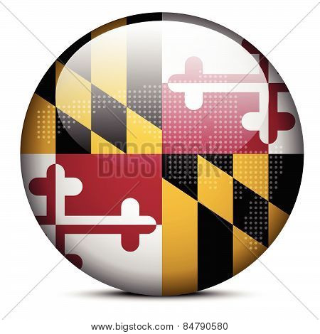 Map With Dot Pattern On Flag Button Of Usa Maryland State