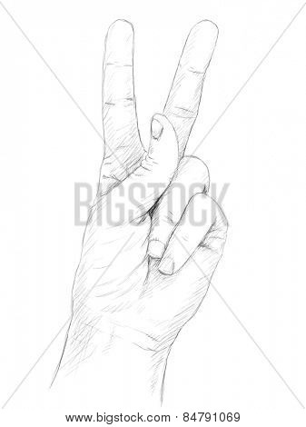 Hand with victory sign Grey pencil sketch on white background Vector