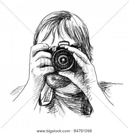 Photographer with photo camera Charcoal sketch Vector