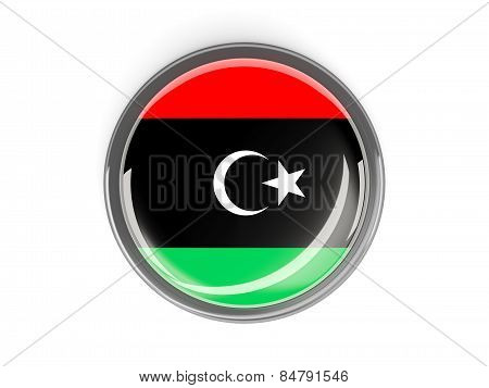 Round Button With Flag Of Libya
