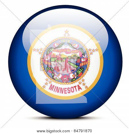 Map On Flag Button Of Usa Minnesota State