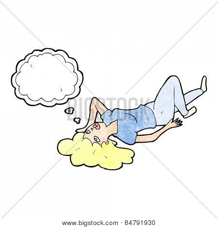 cartoon woman lying on floor with thought bubble