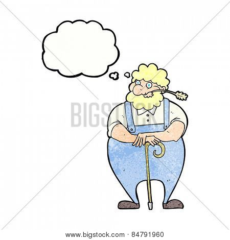cartoon farmer with thought bubble