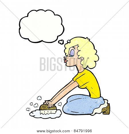 cartoon woman scrubbing floor with thought bubble