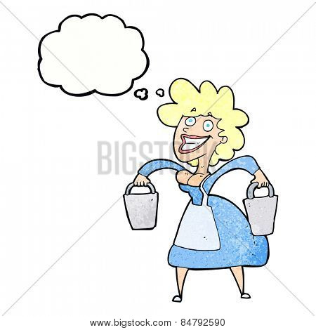 cartoon happy milkmaid