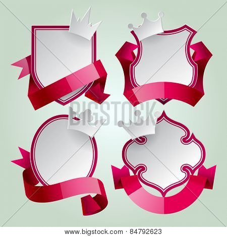 Badge set with red ribbon and paper crown. Retro design elements. Contain the Clipping Path