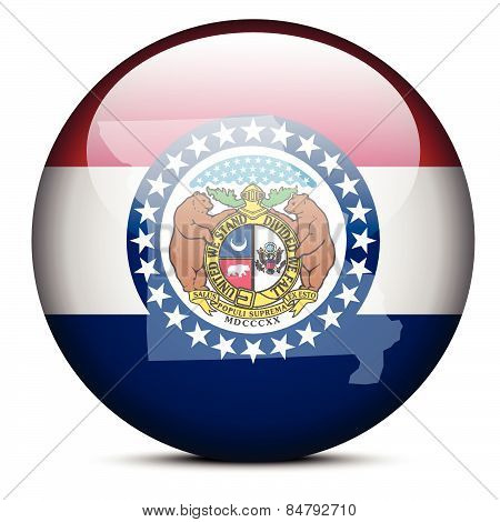 Map On Flag Button Of Usa Missouri State