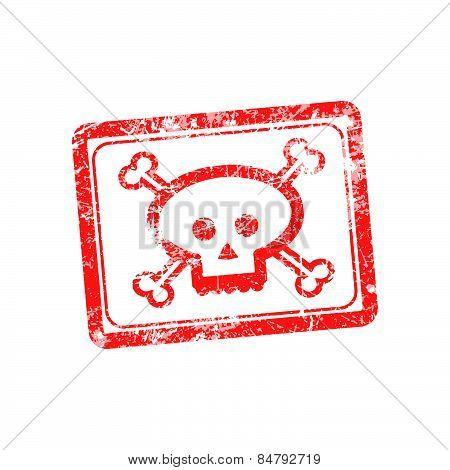 Rubber grunge stamp illustration skull and bones symbol.