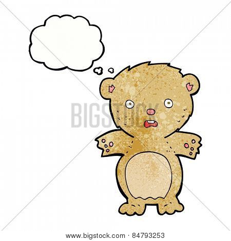 frightened teddy bear cartoon with thought bubble