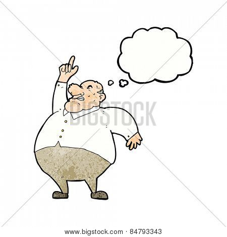 cartoon big fat boss with thought bubble