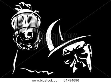 Face miner with a lantern on a black background
