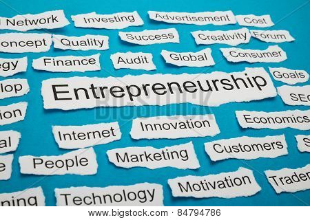 Word Entrepreneurship On Piece Of Torn Paper