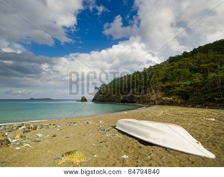 white boat on the beach with forest and sky background