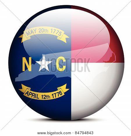 Map On Flag Button Of Usa North Carolina State