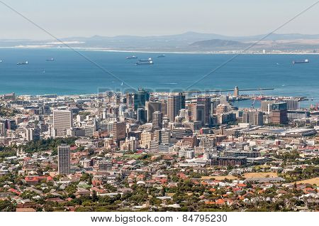 Cape Town Harbor And Central Business District