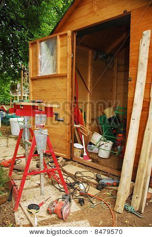 Carpenter's Work Bench And Messy Garden Shed