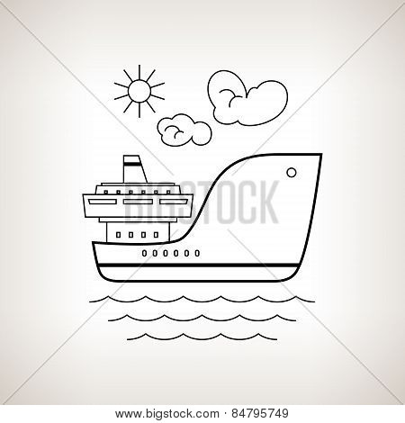 Silhouette  Cargo Ship On A Light Background