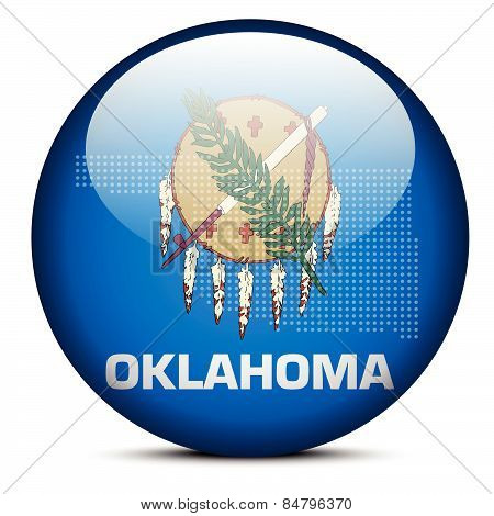 Map With Dot Pattern On Flag Button Of Usa Oklahoma State