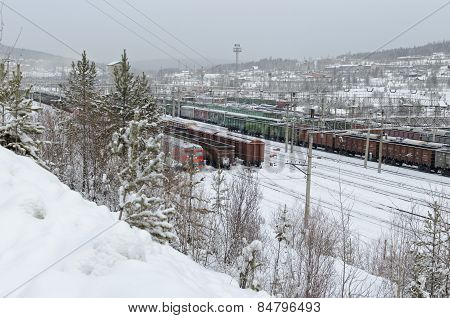 Rail freight trains at the station Korshunikha. Irkutsk region