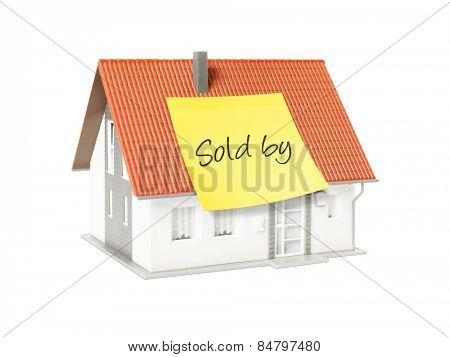 An image of a nice model house with a text for sold by