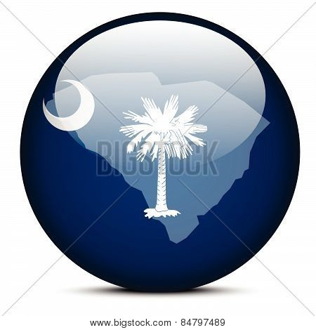 Map On Flag Button Of Usa South Carolina State