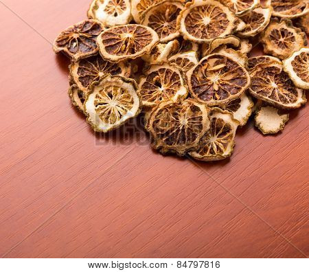 Pile of dried lime slices