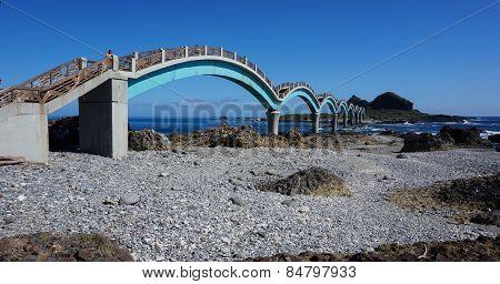 Three Saints Island And Bridge At Pacific Coast, Taitung