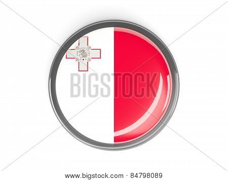 Round Button With Flag Of Malta