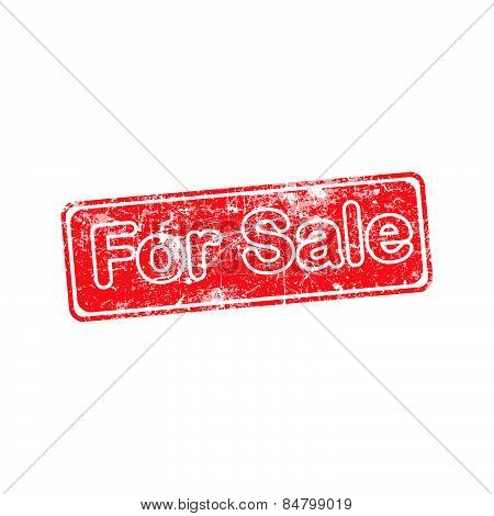 For Sale Red Grunge Rubber Stamp Vector Illustration.