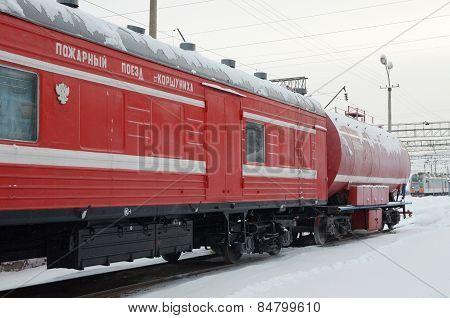 Irkutsk region, RU-Jan,06 2015: Firefighter train of Korshunikha Rail Station. Zhelezngorsk-Ilim