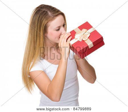Woman look at giftbox