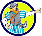 pic of conquistadors  - Illustration of a spanish conquistador pointing looking to side set inside circle on isolated background done in cartoon style - JPG