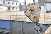 foto of hook  - Industrial metal hook detail shot outside a factory - JPG