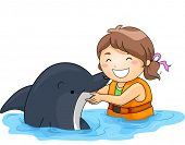 stock photo of dolphins  - Illustration of a Little Girl Happily Playing With a Dolphin - JPG