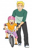 image of father time  - Illustration of a Father Teaching His Daughter How to Ride a Bike - JPG