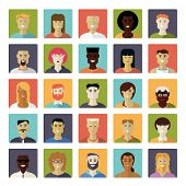 Постер, плакат: Flat Design Everyday People Avatar Vector Icon Set Collection of 25 common people avatar icons in r