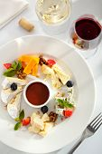 stock photo of dipping  - Cheese Plate with Honey Dip and Fresh Berries - JPG