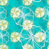 picture of jungle flowers  - Seamless pattern with tropical Hibiscus flowers - JPG