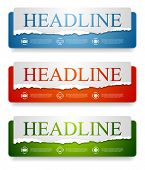 stock photo of edging  - Abstract bright web headers design with ragged paper edge - JPG